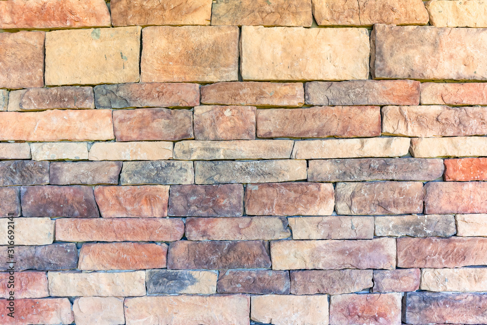 Stone Wall Closeup Blocks Brick Slate Red Brown Earth Design Background