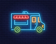 Neon Food Truck Icon Logo