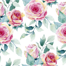 Watercolor Pattern Of Roses