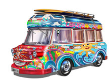 Retro Hippie  Bus With Surf Bo...