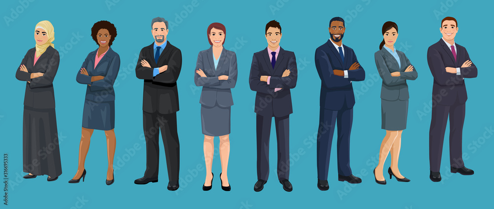 Fototapeta Diversity business people. European, African American, Asian and Arab business men and women are standing crossed arms. Set of isolated vector illustrations