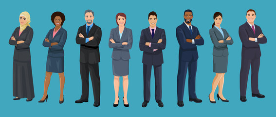 Diversity business people. European, African American, Asian and Arab business men and women are standing crossed arms. Set of isolated vector illustrations