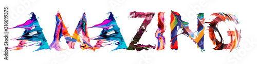 Fotografia, Obraz AMAZING brush typography banner with colorful letters illustration concept on w