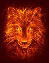 Flame Wolf Head