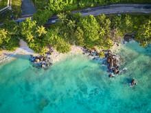 Beach At Seychelles Aerial Top...