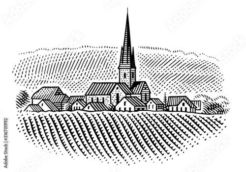 Fotografie, Obraz European village/vineyard landscape  illustration. Vector.