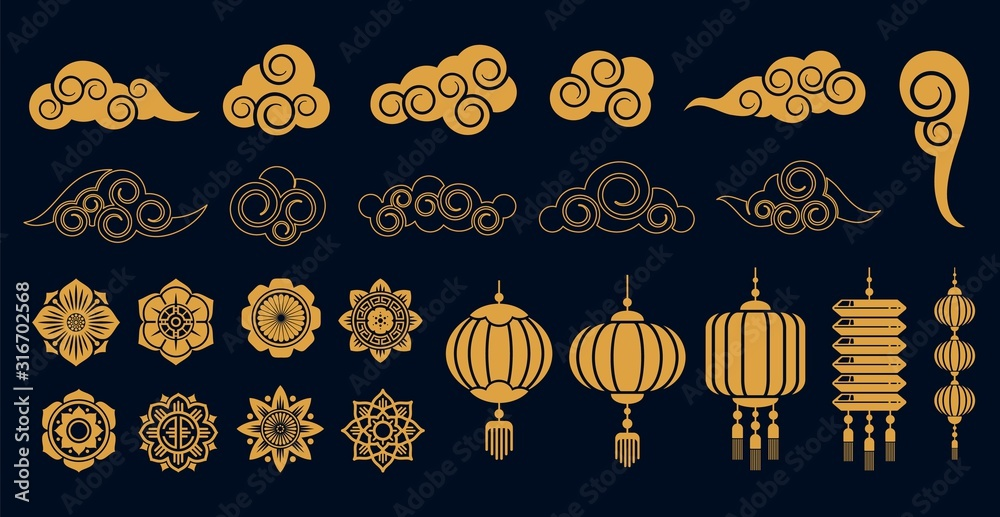 Fototapeta Oriental elements. Asian gold traditional decoration, chinese and japanese, korean art objects. Golden clouds and plant, flowers and laterns vector collection. Illustration asian traditional pattern