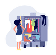 Opened Wardrobe. Girl Stand Front Closet. Stack Clothes On Floor, Fashion Problems And Chaos. Organisation Dressing Vector Illustration. Wardrobe With Clothes, Dress And Clothing In Open Closet