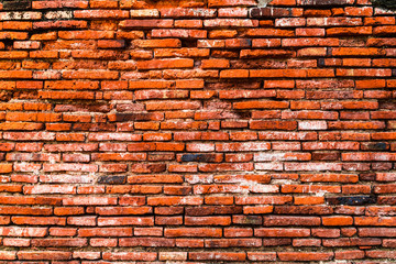 Old orange brick wall for background,