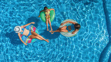 Family In Swimming Pool Aerial...