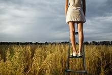 Woman Standing On Step Ladder ...