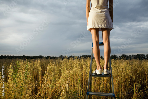 Fotografía Woman standing on step ladder in field