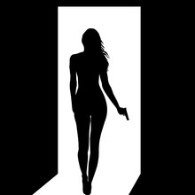 Silhouette Of Woman With A Gun Leaving A Dark Room