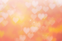 Blurred Background Of Valentine's Day Concept. Pink Valentines Day Card. Pastel Color Tone Soft Have Gradient Pattern. Multicolor White Pink, Orange And Red Hearts Blur Wallpaper In Love Bright Sexy..