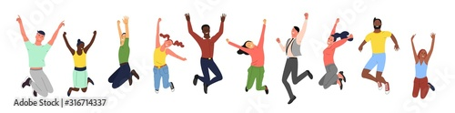 Obraz Crowd of young happy smiling people in jumping poses. Set of female and male active people of different ethnicity. Isolated on white background. Flat style vector illustration. - fototapety do salonu