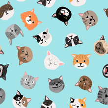 Cats Characters Pattern. Cute Cat Faces Seamless Pattern, Colored Painted Kittens Vector Texture
