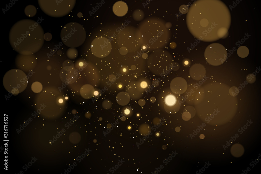 Fototapeta Abstract glares bokeh effect with glitters on a black background. Christmas lights. Vector illustration