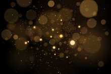Abstract Glares Bokeh Effect With Glitters On A Black Background. Christmas Lights. Vector Illustration