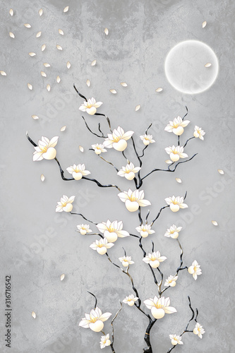 Obrazy do łazienki  3d-mural-wallpaper-flowers-branches-with-modern-gray-background-with-moon-sun-birds-suitable
