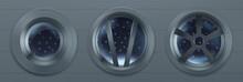 Porthole In Spaceship, Metal R...