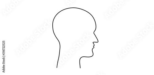 Obraz The head of a man. Thoughts and brain work. Robot on a mission. Head contour. - fototapety do salonu