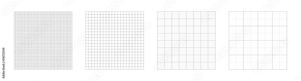 Fototapeta Grid templates, isolated on white background. Set of grid pattern background. Graph paper. Square background. Grid lines black and white color. Vector illustration