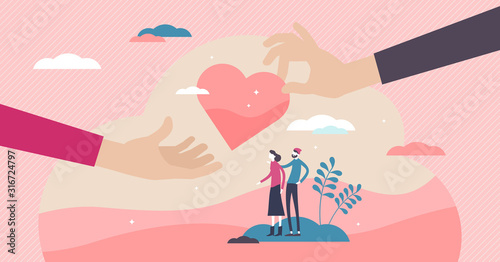 Fotografía Doing good volunteering concept, flat tiny persons couple and hands giving heart