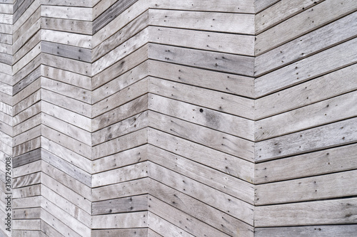 Wood background or texture with planks raw wood, zig-zag shaped in perspective Wallpaper Mural
