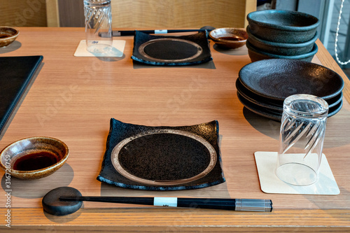 One of the dish sets for Japanese cuisine at a popular restaurant Canvas