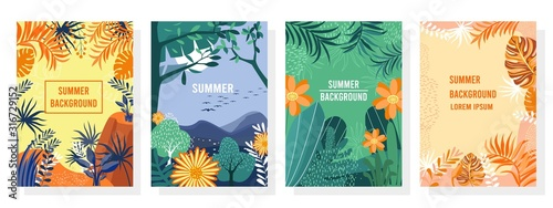 Obraz Vector set summer background, Nature background, banner, cover, templates, posters. - fototapety do salonu