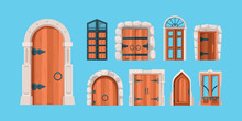 Medieval Doors. Ancient Wooden And Steel Doors Old Building Wall Mysterious Portal Vector Gates In Flat Style. Medieval Wooden Door, Ancient Gate For Castle Illustration