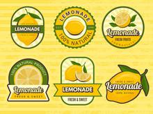 Lemonade Badges. Retro Labels With Lemon Illustrations Vector Design Emblem For Juice. Label Emblem, Fruit Lemonade, Juice Fresh Drink Illustration