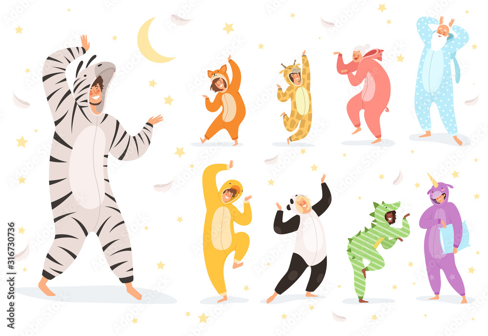Fototapeta Pyjamas characters. Happy kids and parent playing in night textile costumes vector. Illustration costume animal, funny girl and boy pajamas