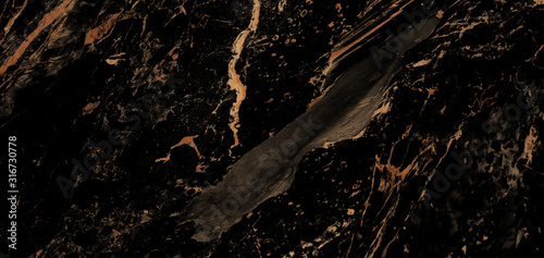 Fototapeta Luxurious Dark Black Agate Marble Texture With Golden Veins. Polished Marble Quartz Stone Background Striped By Nature With a Unique Patterning, It Can Be Used For Interior-Exterior Tile And Ceramic. obraz