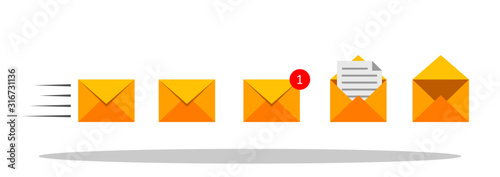 Photo Set of mail envelopes icons in flat style