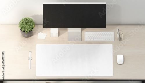 Obraz Blank white desk mat mouse and keyboard mockup, top view - fototapety do salonu