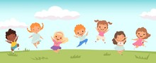 Happy Jumping Kids. Funny Chil...