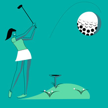 Golfer Woman In Flat Style. Golfer Woman Aiming To Do A Good Kick Isolated Illustration On Blue Background.