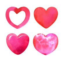 Set Of Red Watercolor Hearts. ...