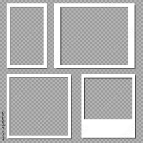 Fototapeta Photo frames with realistic drop shadow vector effect isolated. Image borders with 3d shadows. Empty photo frame template gallery illustration. obraz na płótnie