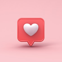 3d Realistic Love Like Heart Social Media Notification Icon On Pink Pastel Color Background With Shadow 3D Rendering