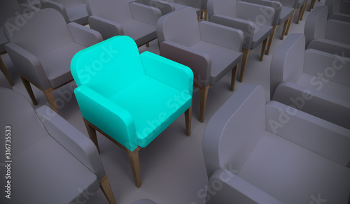 Obraz Concept or conceptual blue armchair standing out in a  conference room as a metaphor for leadership, vision and strategy. A  3d illustration of individuality, creativity and achievement - fototapety do salonu