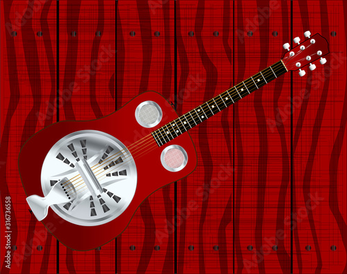 Resonator Guitar By A Wooden Fence Canvas Print