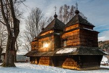 Smolnik Wooden Orthodox Church. Carpathian Mountains And Bieszczady Architecture In Winter
