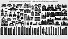 Vector Set Of Modern Skyscrapers, Ancient Castles And Fortress, European Houses And Traditional Chinese Buildings.