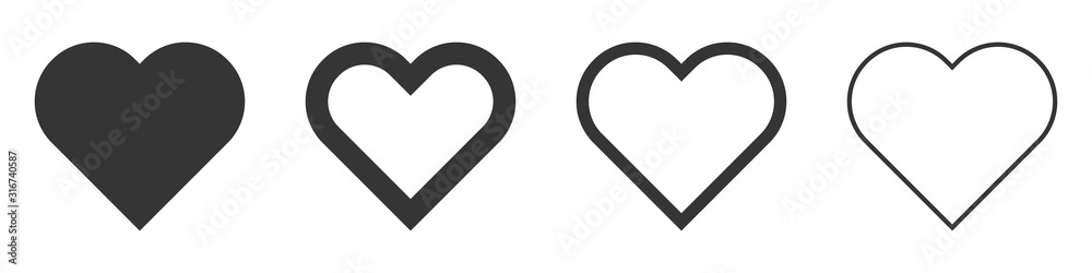Fototapeta Heart vector icons. Set of love symbols isolated.
