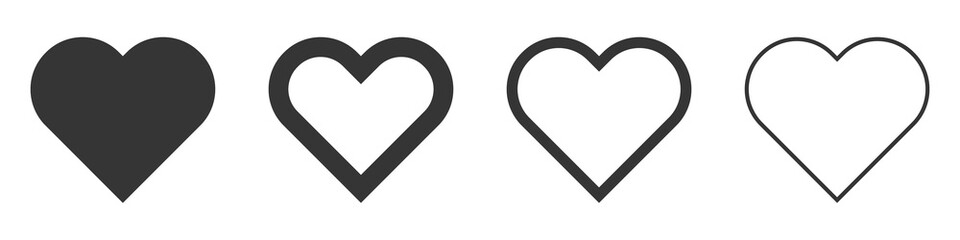 Heart vector icons. Set of love symbols isolated.