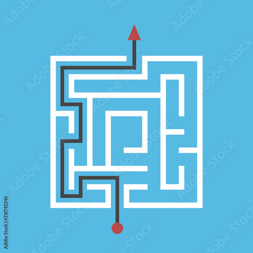 Square maze solved, blue Wallpaper Mural