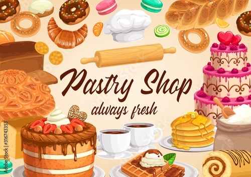 Obraz na plátně Pastry and bakery shop cakes and desserts vector design of sweet food