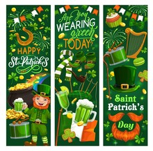 Irish Leprechaun With Patricks Day Green Beer, Shamrock And Hat With Gold Vector Banners. Clover Leaves, Golden Coins Pot And Lucky Horseshoe, Flag Of Ireland, Celtic Elf Treasure Cauldron On Rainbow